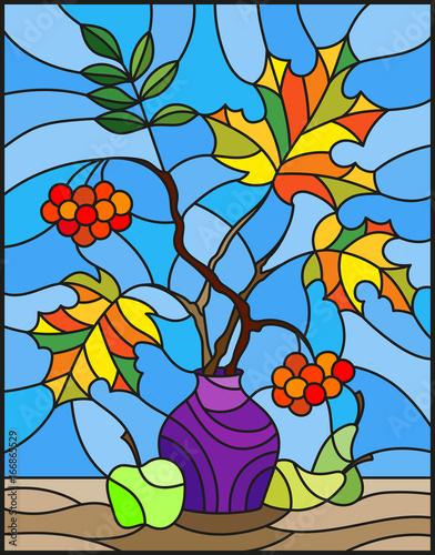 ilustracja-w-witrazu-stylu-z-jesieni-wciaz-zycia-galaz-moun