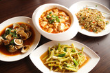 Four chinese food,Yangzhou fried rice ,Stir fried Bamboo shoots,Mapo doufu,Fried clams with basil