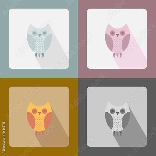 Foto op Aluminium Uilen cartoon Owl is flat, set of icons