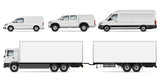 Cargo Transport Mock-up: Trailer Truck, Pickup, Van and Commercial Car. Vector Template For Car Branding And Advertising. All layers and groups well organized for easy editing and recolor.
