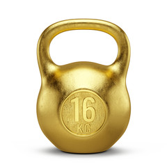 Gold Kettlebell gym weight isolated on white background. 3d render © Sashkin