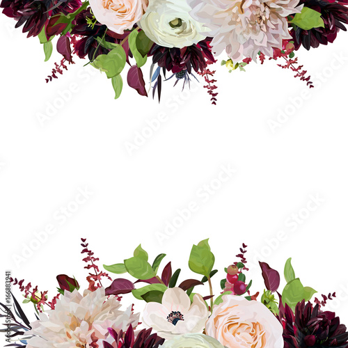 Vector floral design square card design pink Rose burgundy Dahlia flowers Anemone red Astilbe Agonis green garden leaves Wedding trendy vector invite card illustration Watercolor bohemian border frame