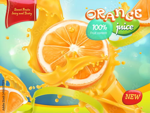 Orange juice. Sweet fruits. 3d realistic vector, package design