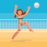 Bikini girl playing ball on the beach.