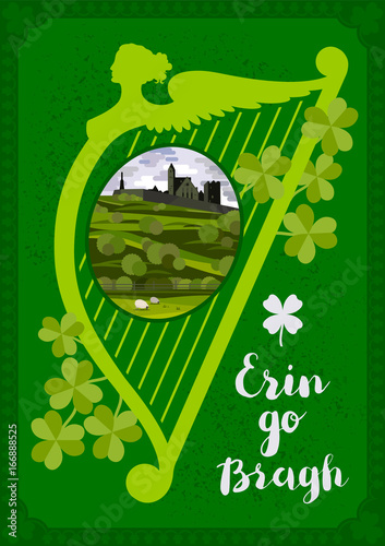 Fotobehang Groene Vector greeting card. Harp, Irish landscape with Cashel castle, clover leaves and lettering quote.