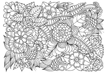 Coloring page of monochrome flowers for adult coloring book