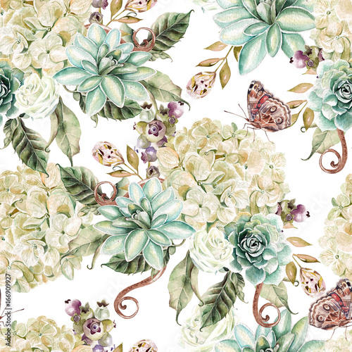 Bright watercolor seamless pattern with flowers hydrangea, rose and succulents. Illustration