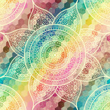 Vector square background. Mandala round decorative ornament pattern. - 166914916