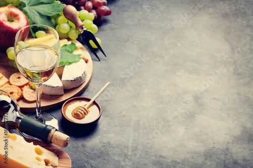 Wine, grape, cheese and honey - 166917772