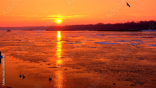 Winter sunset over Danube river