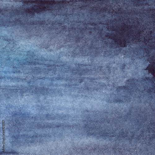 Watercolor navy blue water stripe texture background - 166925757