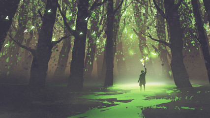 fantasy scene of alone man with torch standing in fairy tale forest,digital art style, illustration painting © grandfailure