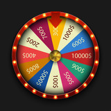 Vector modern fortune wheel on black background. - 166929551