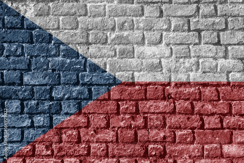 Poster Czech Republic Flag Painted on brick wall