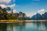 The beautiful lake at Cheow Lan Dam Ratchaprapha Dam, Khao Sok National Park, Thailand
