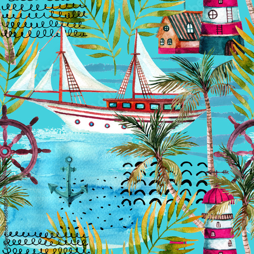 Watercolor adventure seamless pattern in marine style. - 166948319