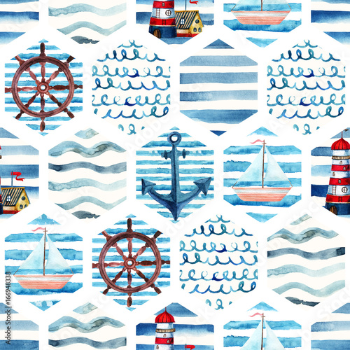 Watercolor adventure seamless pattern in patchwork marine style. - 166948338