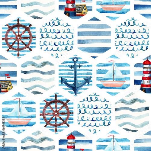 Materiał do szycia Przygoda akwarela bezszwowe wzór w stylu patchwork.
