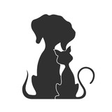 Pets cat and dog, vector illustration.