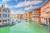 Views of the most beautiful canal of Venice - Grand Canal water streets, boats, gondolas, mansions along. Italy. - 166948743