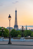 Paris Eiffel tower and lamppost with orange sky, France - 166950152