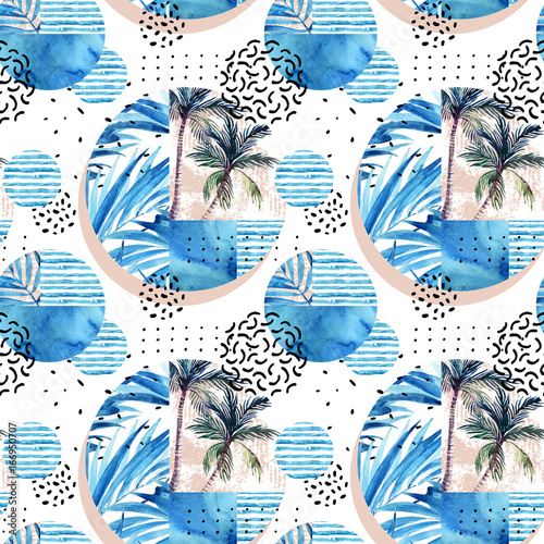 Watercolor tropical floral geometric shapes seamless pattern. - 166950707
