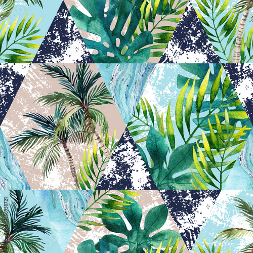 Watercolor tropical leaves and palm trees in geometric shapes seamless pattern - 166950721