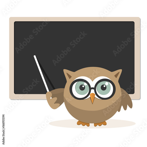 Owl teacher explaining at school on a white background