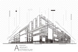 Abstract construction perspective architecture designing line art background.   - 166956708