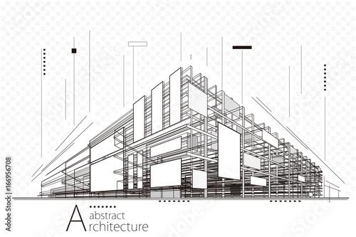 Abstrakcjonistycznej budowy perspektywiczna architektura projektuje kreskowej sztuki tło.