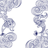 Marine illustration with cartoon mermaids and waves on a white background. - 166959344