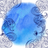 Marine illustration with cartoon mermaids and waves on a blue watercolor background. - 166959378