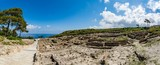 Panoramic view of Kamiros, ruins of an ancient city on Rhodes island, Greece