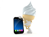 Ice cream character with smart phone - 166962913