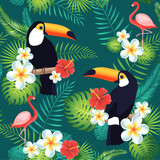 Tropical seamless pattern with toucans, flamingos, exotic leaves and flowers. Vector illustration - 166965926
