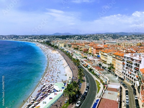 A view of the city of Nice, France from Colline du Château
