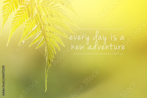 Staande foto Zwavel geel Travel inspirational quote with phrase every day is a new adventure.