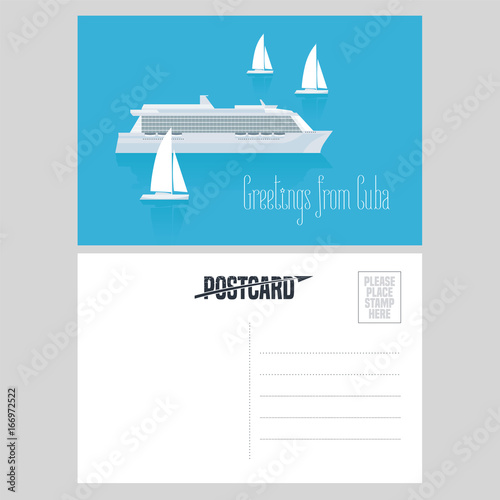 Postcard from Cuba and Caribbean with cruise liner vector illustration