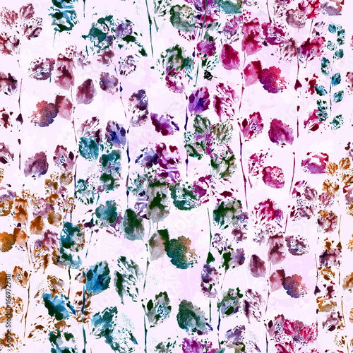 Nature seamless pattern background. Imprints of herbs and leaves. Abstract floral watercolor image. Hand drawn boho backdrop - 166972738