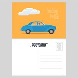 Postcard from Cuba with classic american car vector illustration