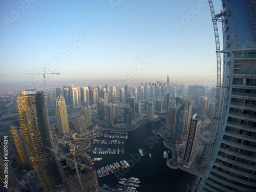 Aerial view of Dubai Marina during sunset