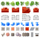 Set of landscape design elements - 166975376