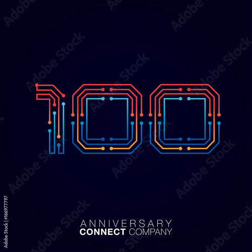 100 Anniversary, Letter one hundred logotype orange and blue color,Technology and digital abstract dot connection company vector logo