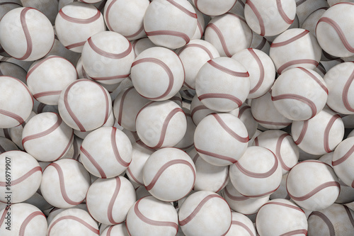 Many baseball or softball balls. 3D rendered illustration.
