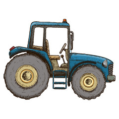 Farming tractor, colorful sketch illustration. Farming agricultural machine. Vector