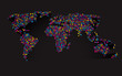 abstract 3D world map made ​​up of small colorful dots