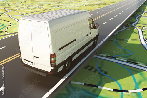 Delivery van runs along the highway on a road map. 3D Rendering