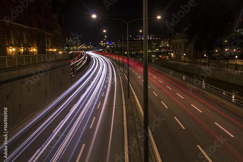 Foto op Aluminium Nacht snelweg snake on stockholm