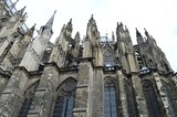 Cologne in Germany, part of the cathedral with white sky - 166989520