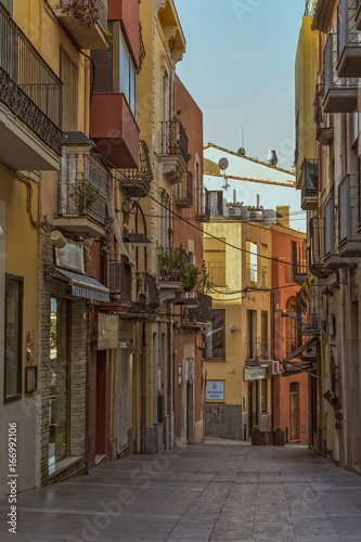 Old street in a small Spanish town Palamos in Spain